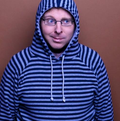 Tony Cowards in stripy hoody